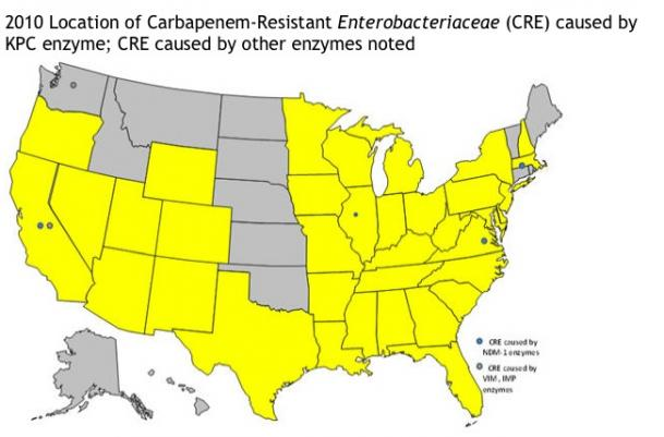 Карта распространения CRE в США в 2010 году