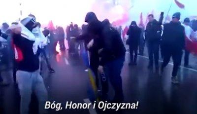 На Польском марше сожгли флаг Украины
