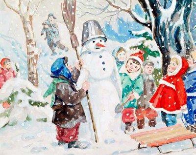 Снеговик и снежная баба в славянской традиции