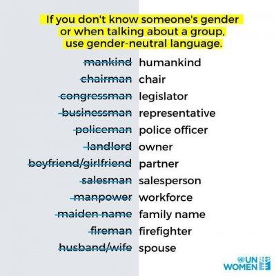 Гермафродитный ООН советует запретить слова Муж и Жена
