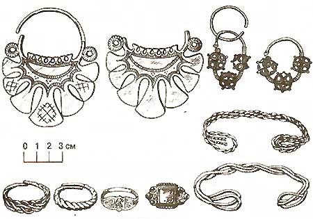 Женские украшения из Чертановских курганов: височные кольца, браслеты...